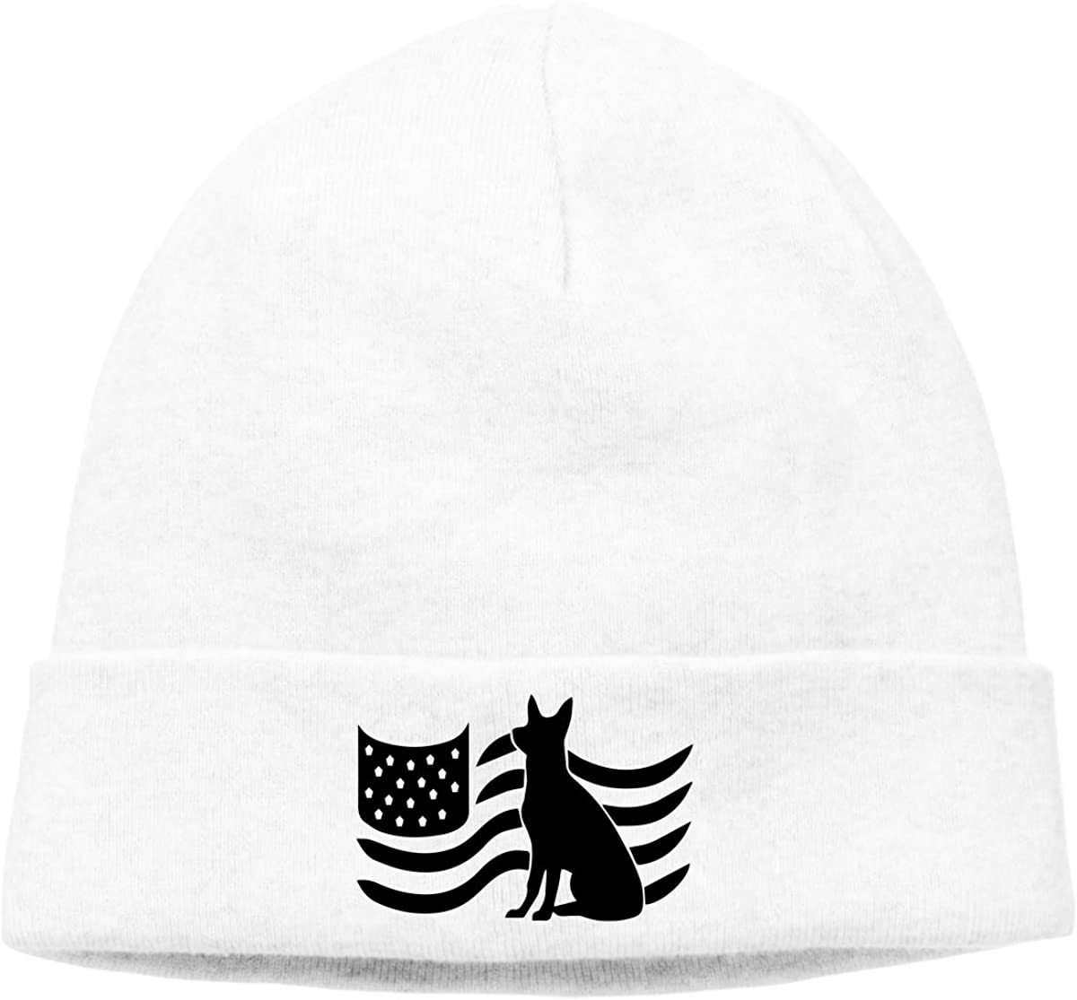 BBlooobow Unisex German Shepherd American Flag Soft Knit Hats