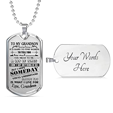 Handmade Gift Customized Engraving Birthday For Boys To My Grandson Dog Tag Chain