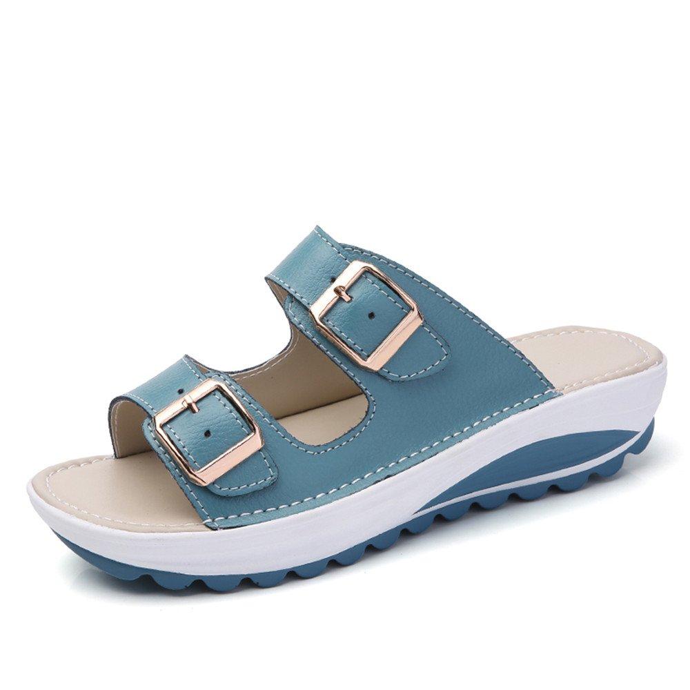 Hausschuhe Damen Sandalen Plateau Kunstleder Keilabsatz Sandaletten Schnalle Sommer Schuhe Dicke Sohle 4cm Schwarz Blau Orange Rosa Weis Gelb 34-40  34 EU Blau(bitte Nehmen Sie das Grosenetikett der Schuhe Als Standard, Wenn Sie Sie Erhalten)