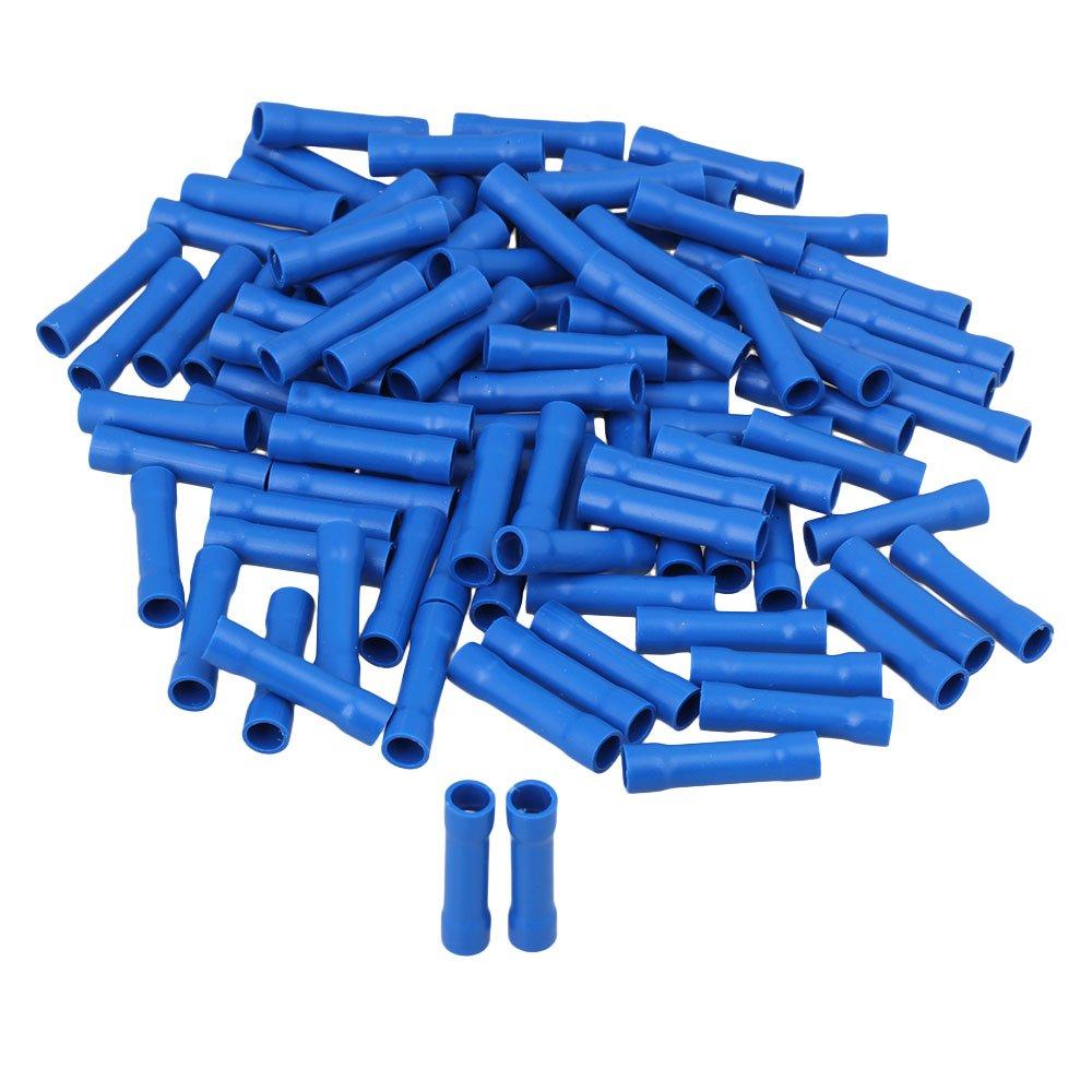 Cnbtr Bleu isolé Butt Connecteurs droites Bornes à sertir 16–14AWG pour câble Lot de 100 yqltd CNBTR90