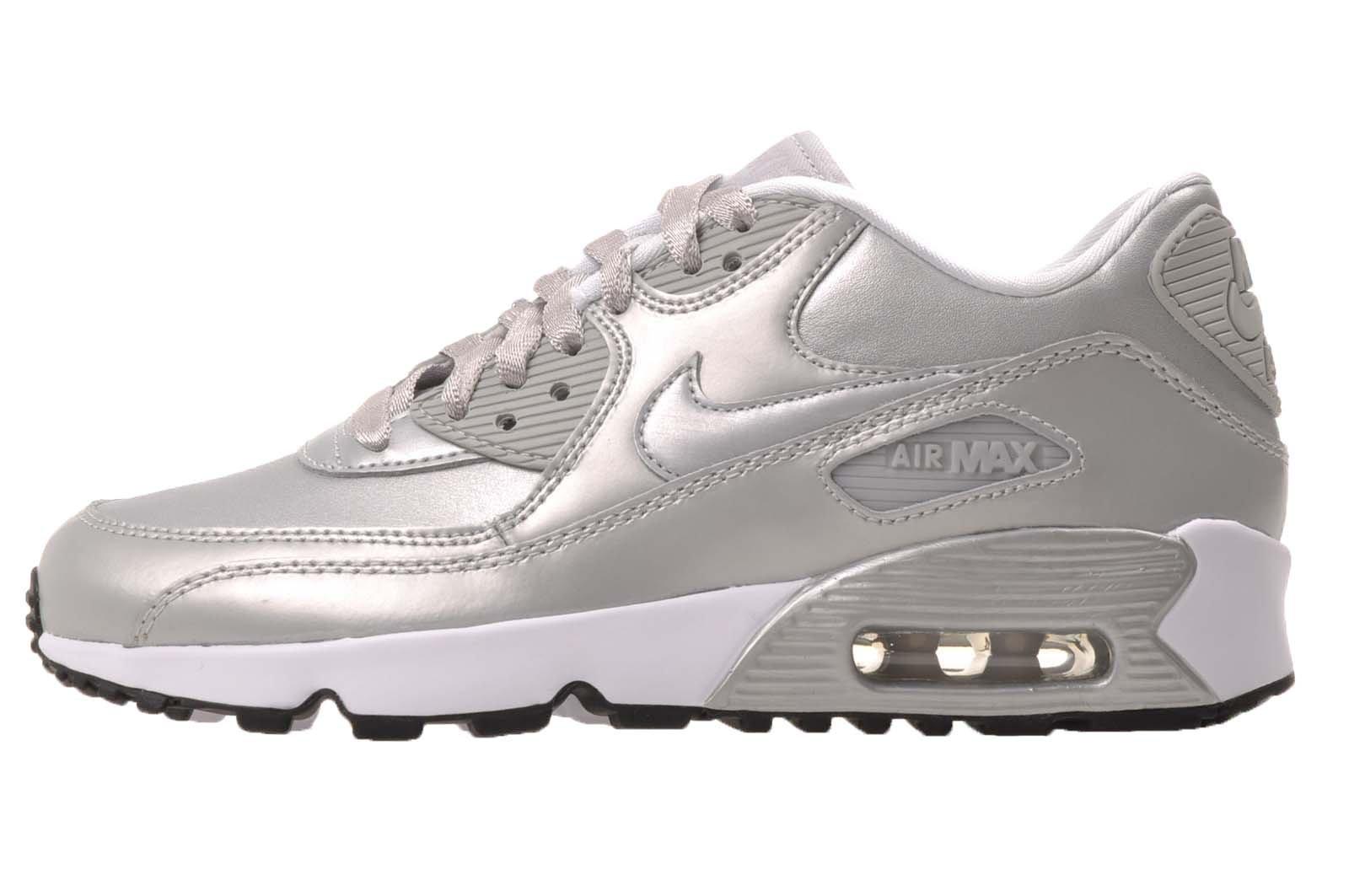 Nike Air Max 90 SE Leather GS (Metallic Platinum Metallic