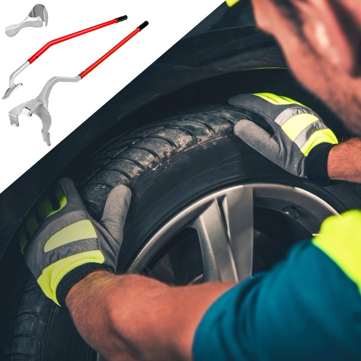 Goplus Tire Changer, 17.5'' to 24'' Steel Tire Mount Demount Tool Kit, Tubeless Truck Bead Breaker Manual Tire Changing Tool (Red) by Goplus (Image #7)