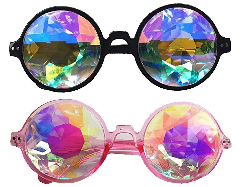 DODOING Festivals Kaleidoscope Glasses For raves - Goggles Rainbow Prism diffraction Crystal Lenses (One Size-Adjustable Head Band, Black+Pink) by DODOING (Image #1)