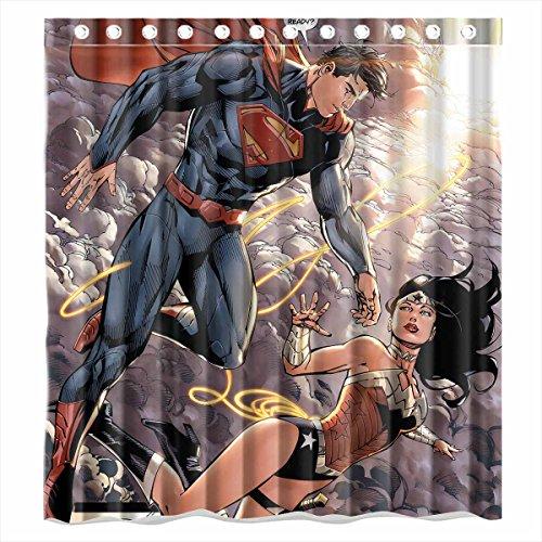 Custom Superman And Wonder Woman Waterproof Bathroom Shower Curtain  Polyester Fabric Shower Curtain Size 66 X 72
