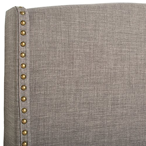 "Stone & Beam Darby Wingback King Headboard, 80"" W, Warm Grey"