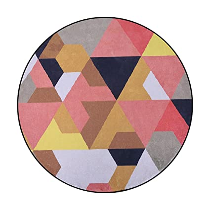 Amazon.com: CarPet Nordic Round Rug Orange Stitching Geometric Study ...
