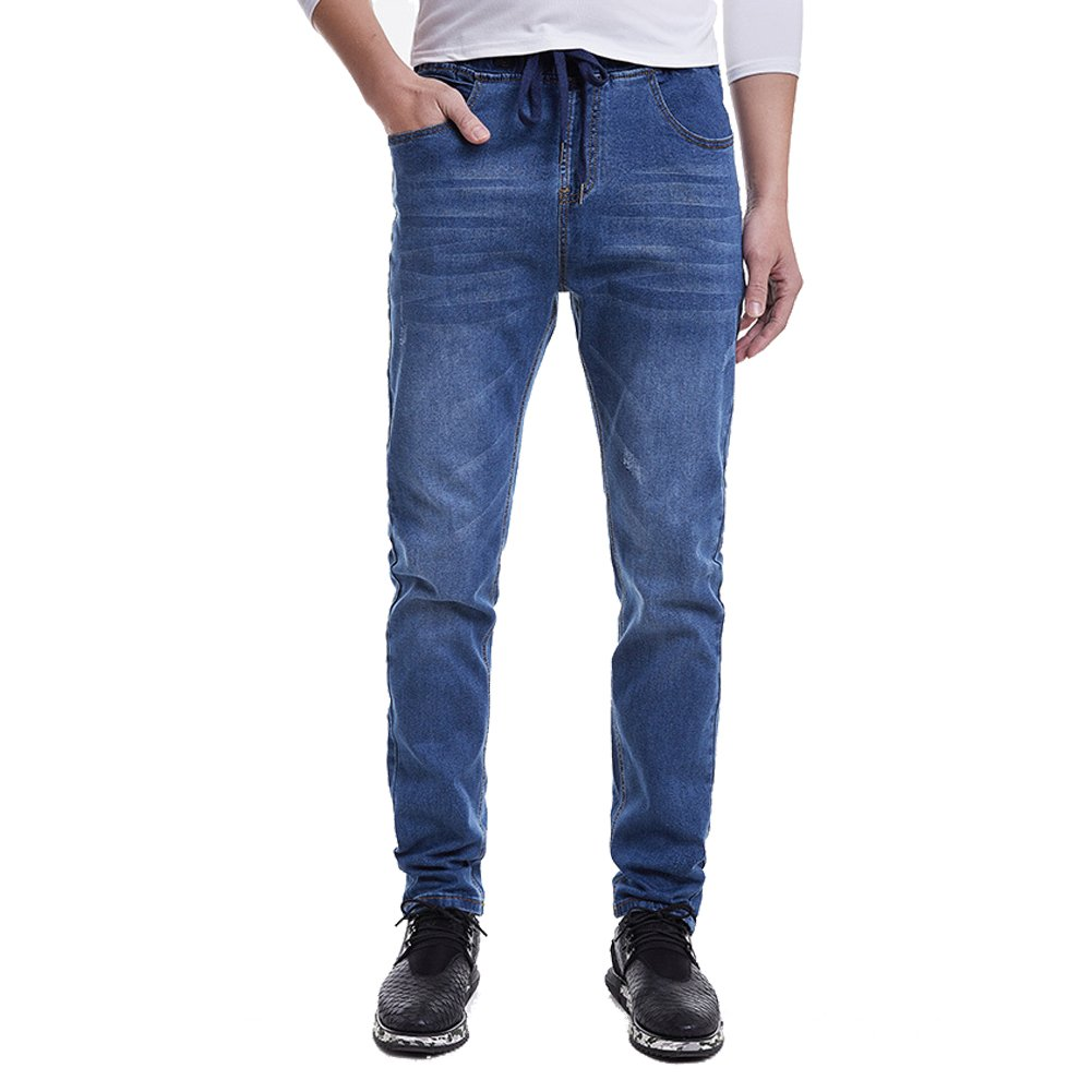 1edfbccd Amazon.com: Men's Elastic Waist Slim Fit Stretch Jeans Pants with  Drawstring Light Blue Tag 2XL - Waist 32: Clothing