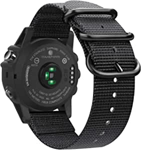 Fintie Band Compatible with Garmin Fenix 5X Plus/Fenix 3 HR Watch, Premium Woven Nylon Bands Adjustable Replacement Strap Compatible with Fenix 5X/5X Plus/3/3 HR Smartwatch, Black