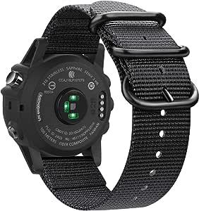 Fintie Band Compatible with Garmin Fenix 5X Plus/Fenix 3 HR Watch, Premium Woven Nylon Bands Adjustable Replacement Strap Compatible with Fenix 5X/5X Plus/3/3 HR Smartwatch, Black