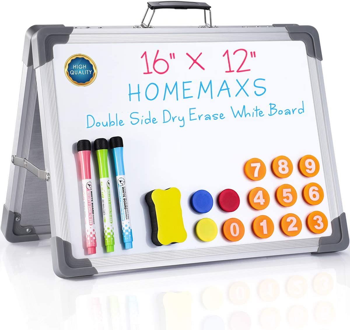 """Homemaxs Small Dry Erase White Board, Magnetic Desktop Portable Dry Erase Board, 12"""" x 16"""" Double Sided Magnetic Whiteboard, for Kids Drawing, Kitchen Grocery List, Cubicle Memo Board"""