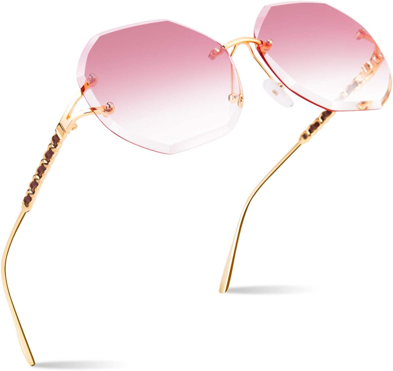 CGID Sunglasses for Women Rimless Sun Glasses for Lady Frameless Shades UV400 Protection Dark Glasses 100/% UV 400 Goggles for Driving Diamond Cutting Metal Temple Leather Decoration Gradient Pink Lens