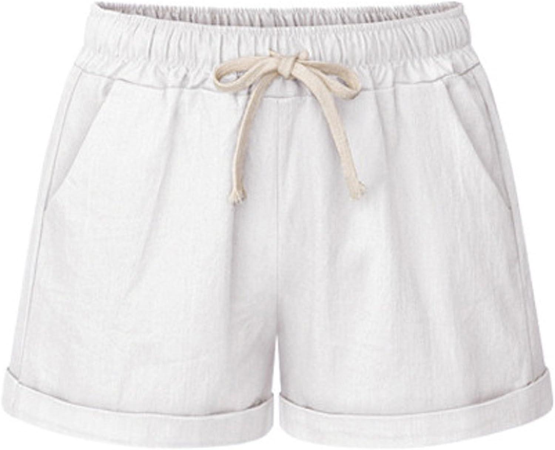 Cicilin Damen Shorts Bermuda Baumwolle Sommer Kurze Hose Casual Lose Strandshorts