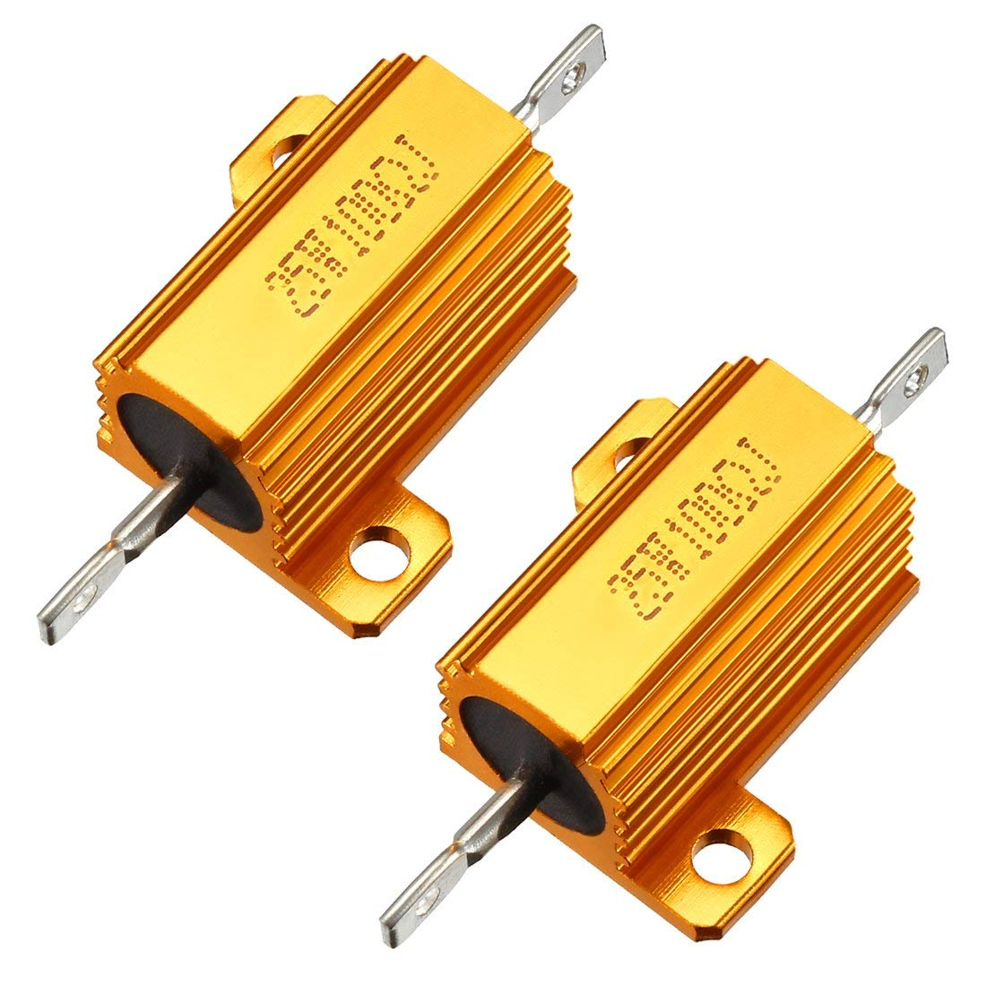 sourcingmap 25W 12 Ohm 5/% Aluminum Housing Resistor Screw Tap Mounted Aluminum Case Wirewound ResistorGold Tone RX24 25W12RJ 2 pcs
