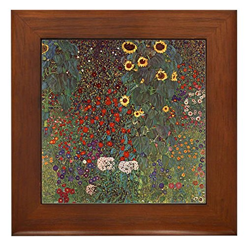 CafePress - Gustav Klimt Art Framed Tile Sunflower Garden - Framed Tile, Decorative Tile Wall - Decor Quality Framed Tile Ceramic