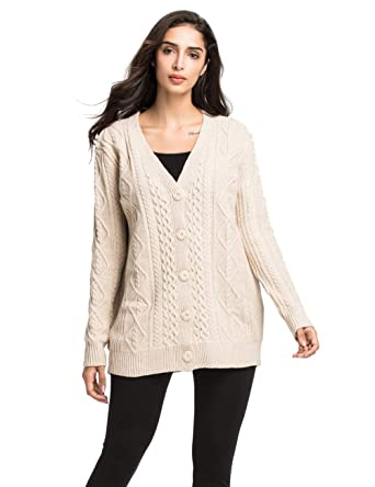 5a50df4cfa40 Lynz Pure Women s Cardigan Sweaters Long Sleeve Oversized Cable Sweater  Coat Beige S