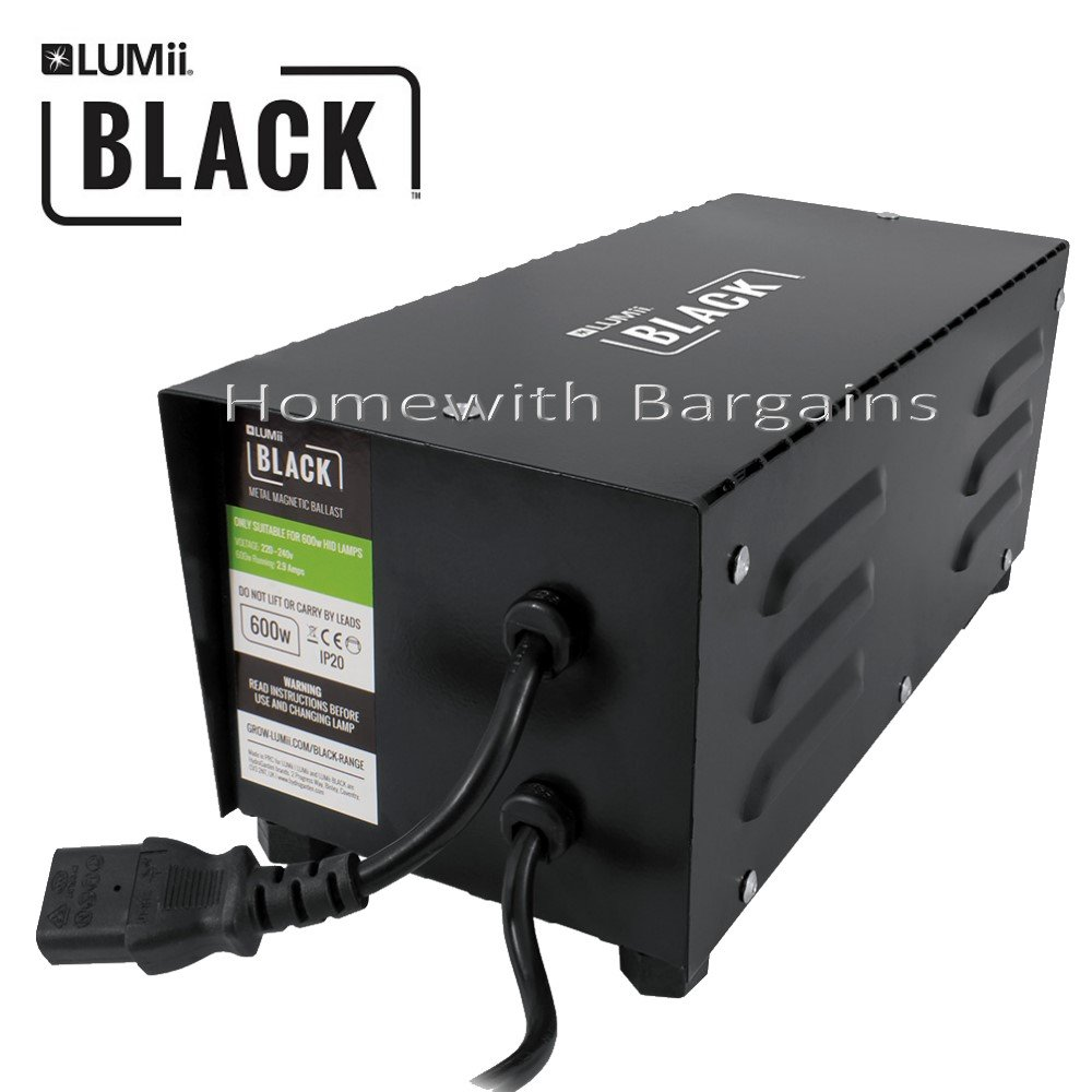 600w LUMii BLACK Metal Magnetic Ballast Grow Light for HPS & MH Bulb Hydroponics