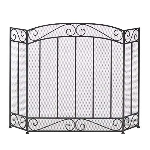 Fire Screen For Fireplace, Antique Rustic Iron Classic Fireplace Screens Black