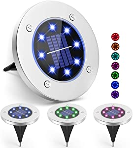 Jialisita Solar Ground Lights for Outdoor, 4 Pack Colored Light Solar Garden Lights Stainless Steel IP65 Waterproof 8 LEDs Solar Lights Landscape for Garden Yard Lawn Patio Pathway Stairs Fences Steps