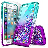 i phone 5 case gems - iPhone 5S Case, iPhone SE/5 Case with Tempered Glass Screen Protector for Girls Women Kids, NageBee Glitter Liquid Sparkle Bling Floating Waterfall Diamond Cute Case for iPhone 5/5S/SE -Aqua/Purple