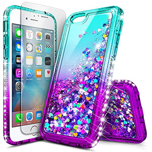 iPhone 6S Case, iPhone 6 Case with Tempered Glass Screen Protector for Girls Women Kids, NageBee Glitter Liquid Waterfall Floating Diamond Durable Moving Quicksand Clear Cute Phone Case -Aqua/Purple