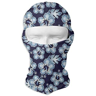 Balaclava Full Face Mask Hawaiian Flowers Windproof UV Protection Neck Hood Ski Mask for Motorcycle Cycling Outdoor Sports