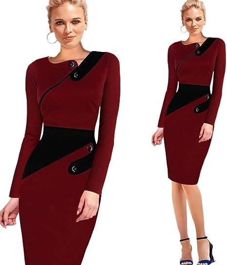 faee69e5df4 Unomatch Women Bodycon Long Sleevess Slim Evening Formal Dress Red (Medium