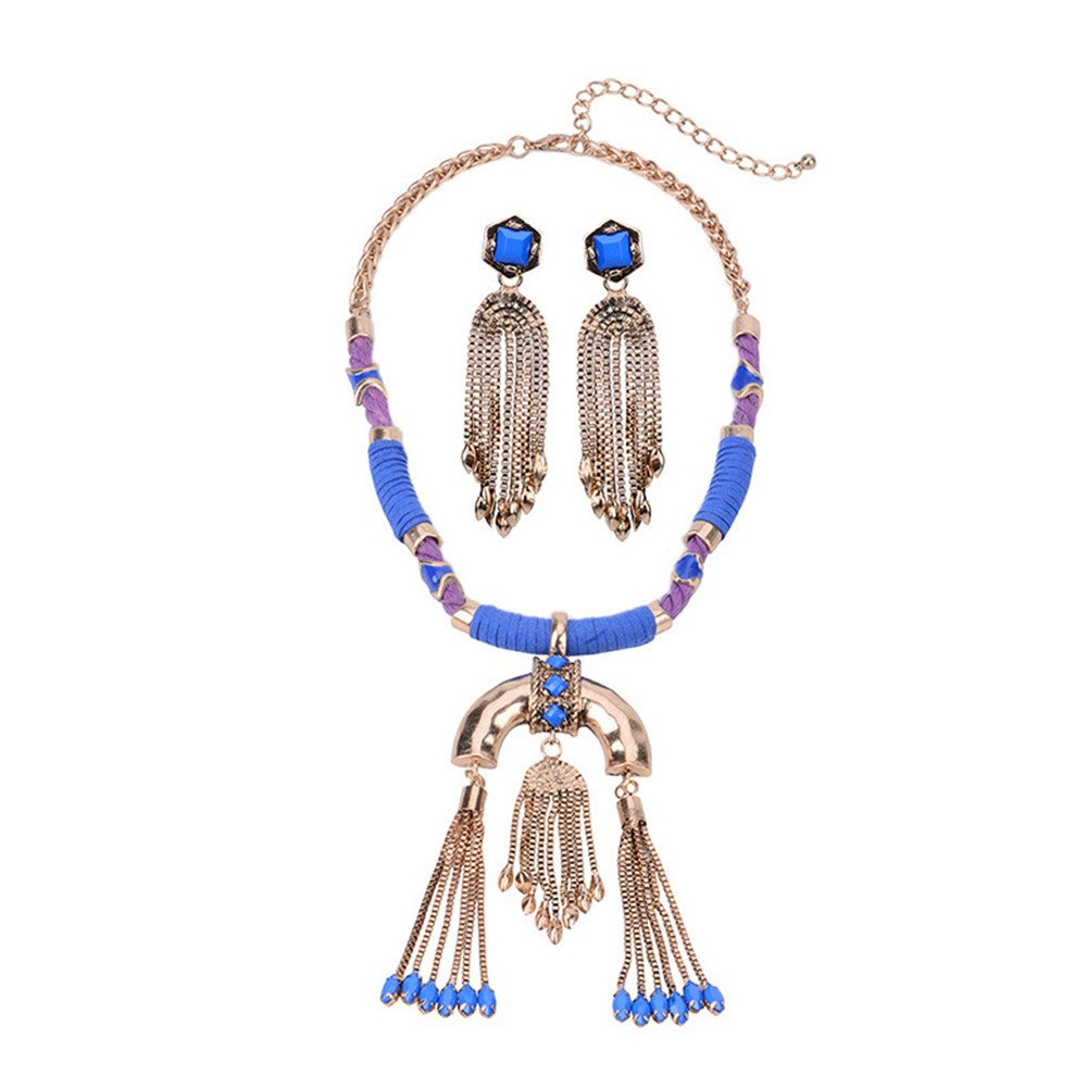 QXLDM Necklaces Jewellery Pendant Retro Item Large Gemstone Short Clavicle Chain Necklace Earrings Set Necklace