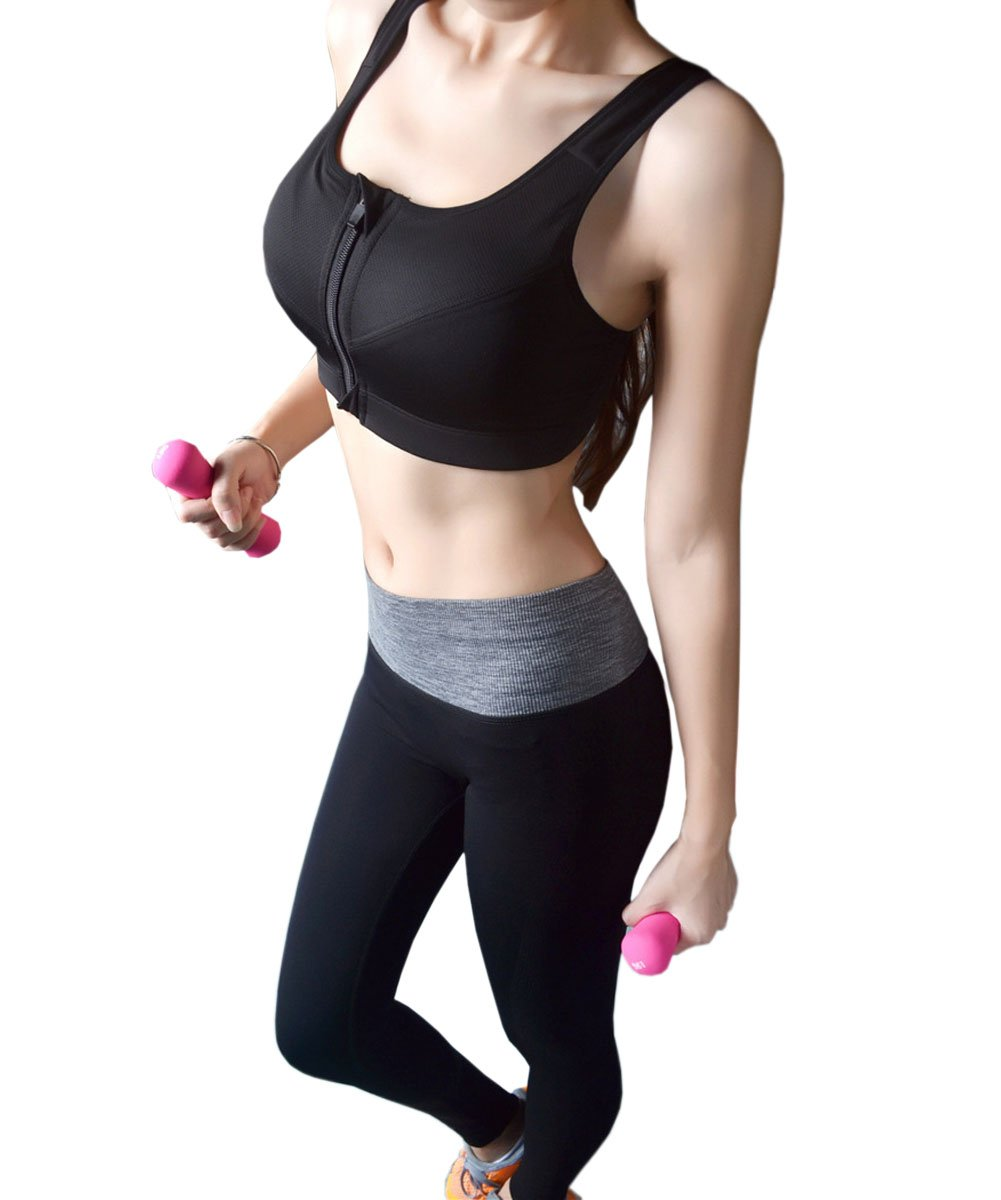 CRAZY Women's Sportswear Set Gym Jogging Bra Outfit Racerback Leggings Top+Pa...