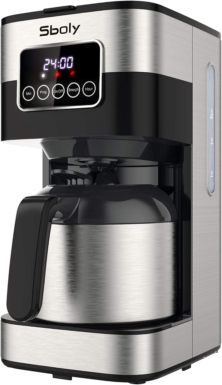 Sboly Drip Coffee Maker, Programmable Coffee Maker with Thermal Carafe, 8 Cup Coffee Pot with Timer and Strength Control