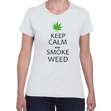 Damen T Shirt Keep Calm Rauch Unkraut Lustige Shirts Fun Shirt
