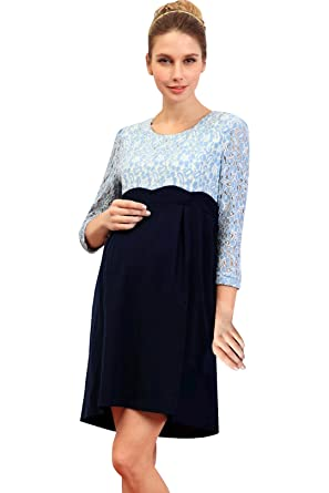 02db4ce6d6bd4 Sweet Mommy Maternity and Nursing Scalloped Lace Dress SaxNavy in LL ...
