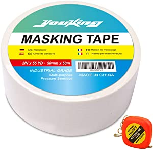 "YOUKING Professional Masking Tape, Multi-Use, Easy Tear Painter's Tape. 2In X 55Yard Best for Home and Office (1roll 2"" x 55yard)"