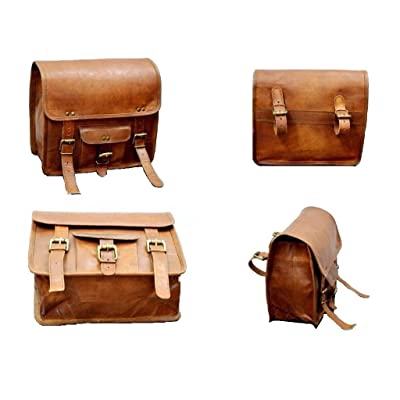 high-quality 2 X Motorcycle Side Pouch Brown Leather Side Pouch Saddlebags Saddle Panniers ( 2 Bags )