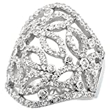 Sterling Silver Butterfly Cigar Band Cubic Zirconia Ring with Brilliant Cut CZ Stones, 1 1/8 inch (28 mm) long, size 6