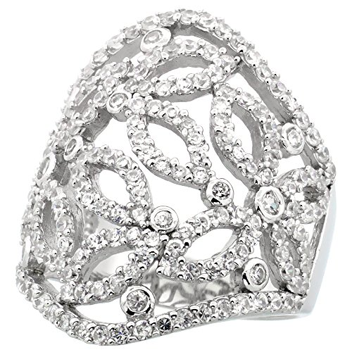 Sterling Silver Butterfly Cigar Band Cubic Zirconia Ring with Brilliant Cut CZ Stones, 1 1/8 inch (28 mm) long, size 6 Brilliant Cut Butterfly Ring