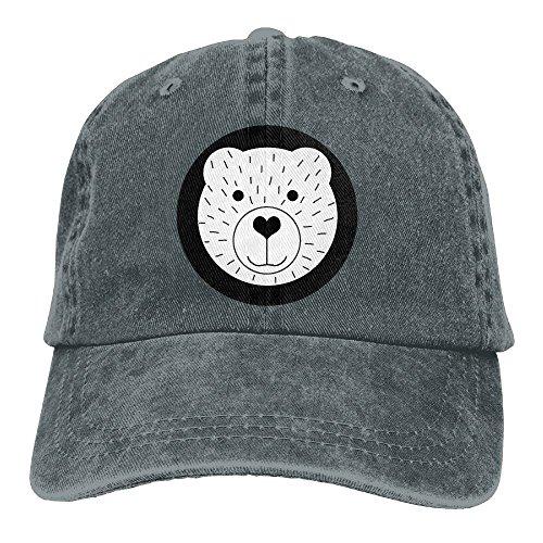 Qbeir Cute Cartoon Bear Adjustable Adult Cowboy Cotton Denim Hat Sunscreen Fishing Outdoors Retro Visor Cap