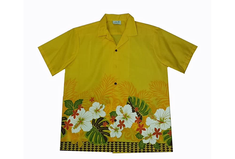 Mens Hawaiian Yellow Hibiscus Flower Aloha Shirt Jade Fashions Inc