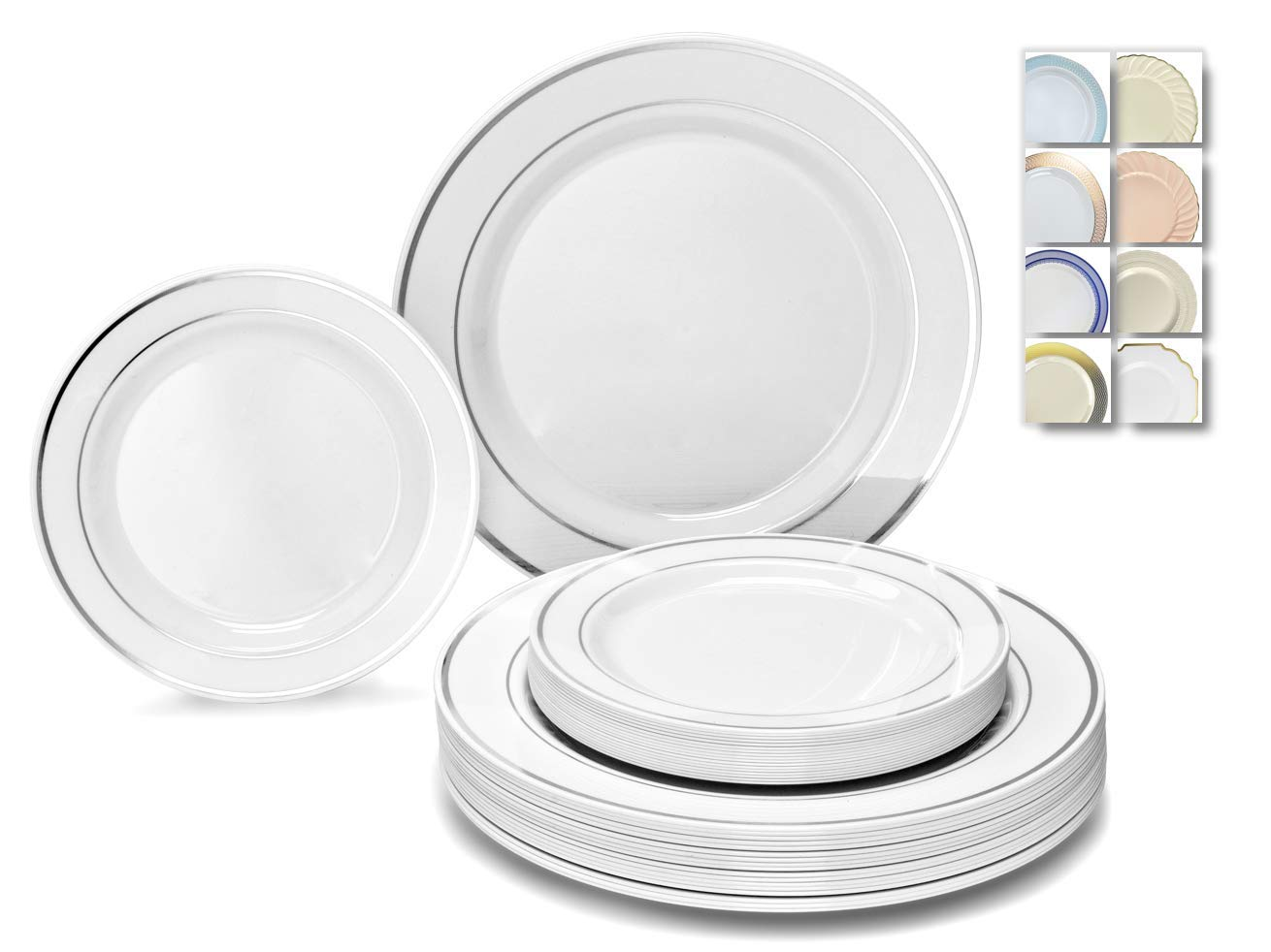 '' OCCASIONS'' 50 Plates Pack (25 Guests) - Heavyweight Wedding Party Disposable Plastic Plate Set - 25 x 10.5'' Dinner + 25 x 7.5'' Salad/dessert plates (White & Silver Rim) by OCCASIONS FINEST PLASTIC TABLEWARE