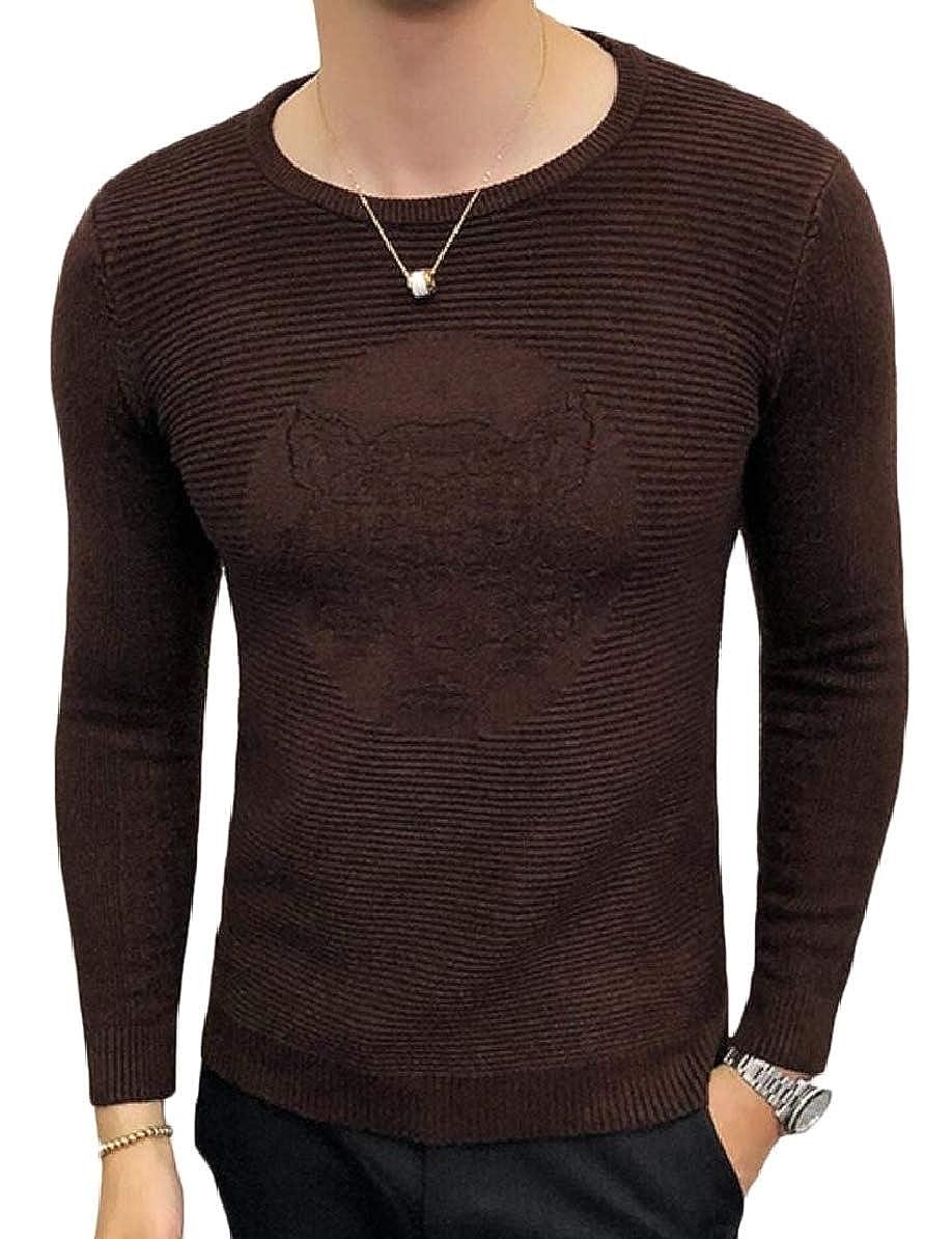 FLCH+YIGE Mens Print Pattern Fashion Crewneck Knitting Knitwear Slim Pullover Sweaters