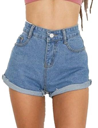 suuri alennus verkkokauppa tukku verkossa Women's Juniors Vintage Denim High Waisted Jeans Shorts