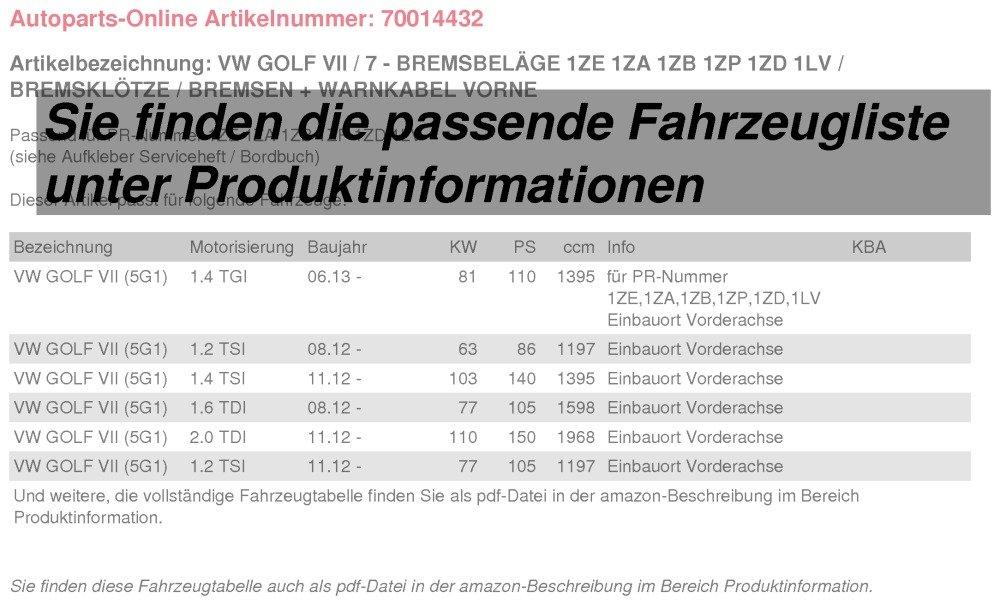 Bremsbel/äge//Bremsen Warnkabel vorne Bremskl/ötze 2E3