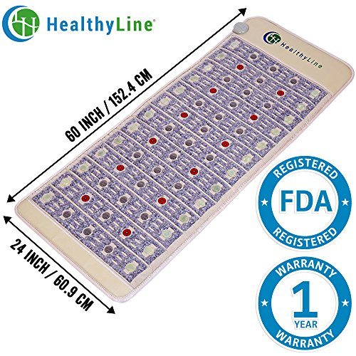 HealthyLine Natural Infrared Heating Mat - Pain Relief - Firm (60″ x 24″) - PEMF - Photon Red Light - Negative Ions - Amethyst, Jade & Tourmaline Ceramic Stones - US FDA by HealthyLine