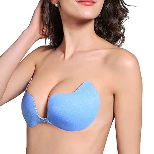 b55dc797c5 Aoxing Invisible Bras for Women Push up Strapless self Adhesive Silicone Bra  Blue A