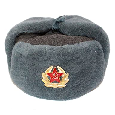 c501c033fb3 Russian Fur Ushanka Winter GENUIN Wool Cold WAR HAT Cap with Badge ...