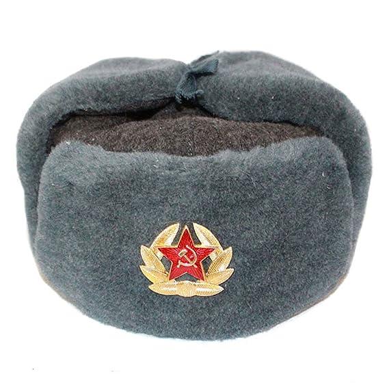 14c1bf358232e ORIGINAL RUSSIAN FUR USHANKA WINTER GENUIN WOOL COLD WAR HAT CAP WITH  BADGE. SIZE 54 55 (S)  Amazon.co.uk  Clothing
