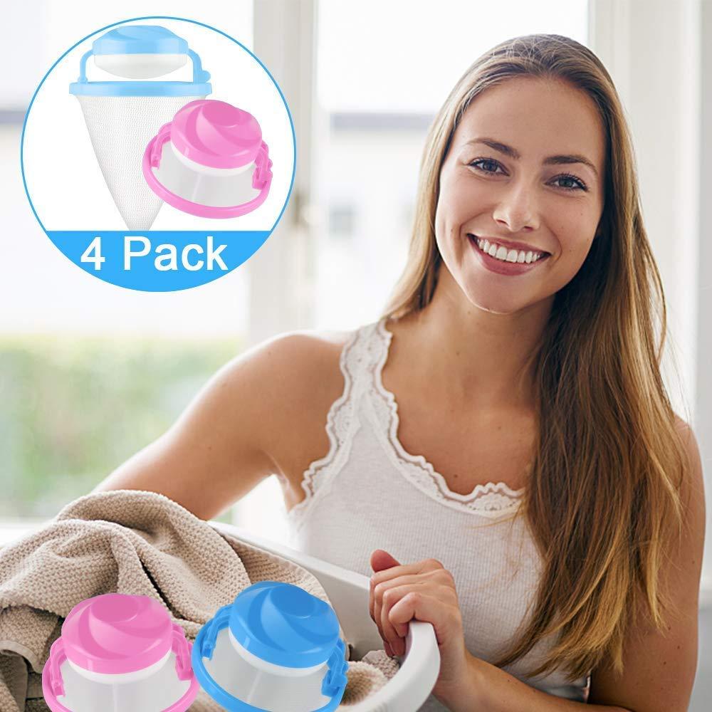 Bolsas de Malla Flotante ysister 8 Piezas Atrapa Pelos Lavadora Rosa, Azul removedor de Cabello Reutilizable Bolsa de Malla de Filtro de Lavadora de Bolsa de Filtro de lavander/ía Flotante