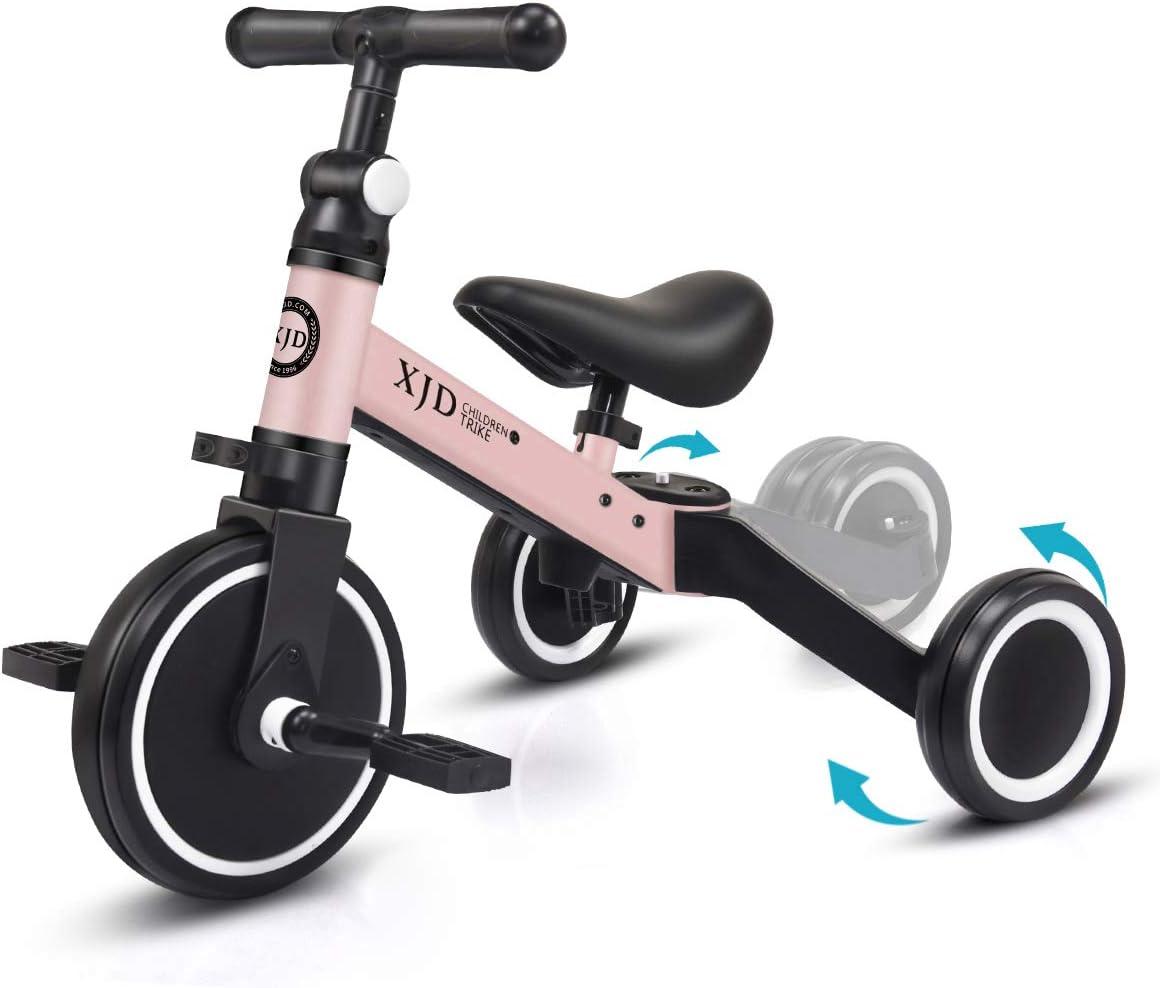 XJD 3 en 1 Bebé Triciclo Bicicleta de Equilibrio para Niños y Niñas de 1 a 3 años Plegable y Ligero con CE Certificación Versión2.0 (Rosa Claro)