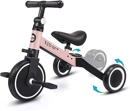 XJD 3 en 1 Bebé Triciclo Bicicleta de Equilibrio para Niños y Niñas de 1 a 3 años Plegable y Ligero con CE Certificación Versión2.0 (Rosa Claro): Amazon.es: Juguetes y juegos
