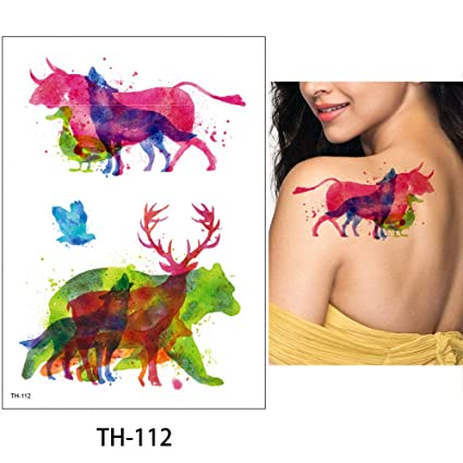 ffd399d4b Image Unavailable. Image not available for. Color: s15 1 Sheet Watercolor  Animal Temporary Tattoo Fox Wolf Decal Body Sticker Water Transfer Tattoo  Paper