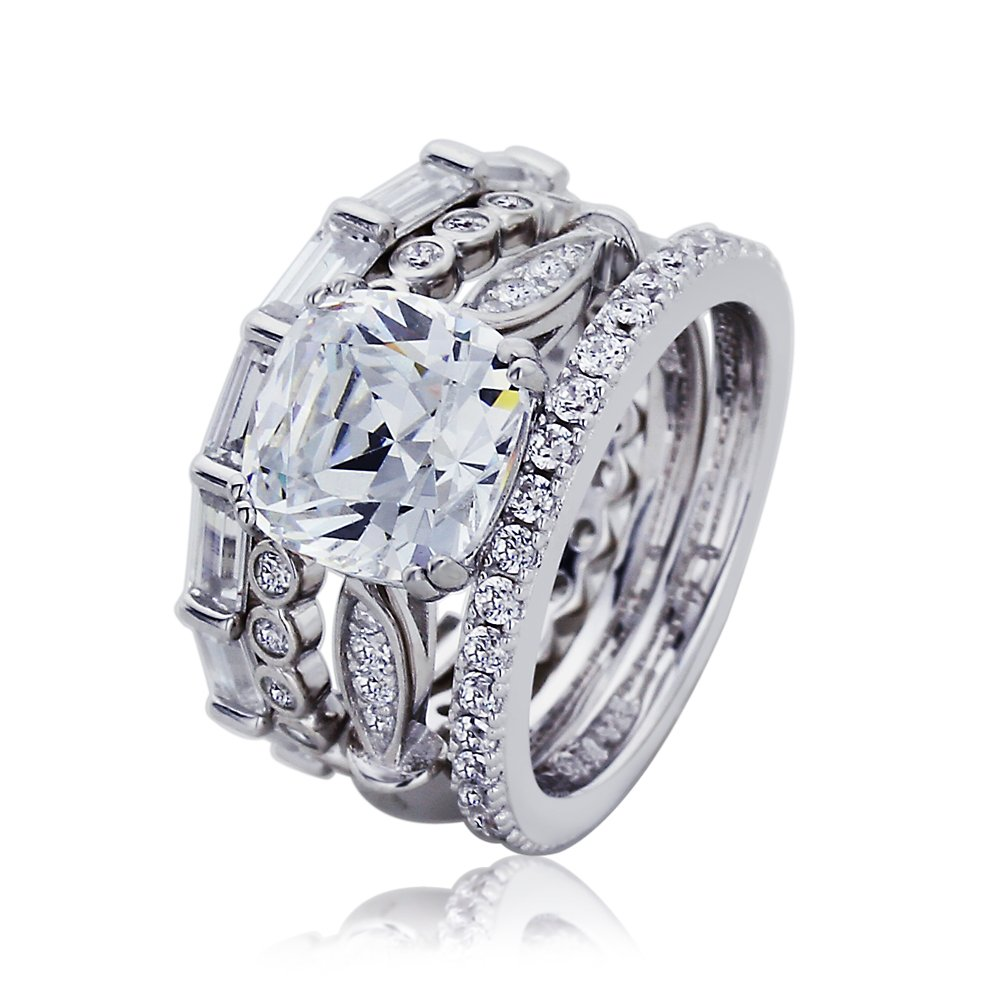 Platinum Plated Sterling Silver 2.7 cttw Center Cushion Cut CZ Ring Three Style Ring Set ( Size 5 to 9 ), 8